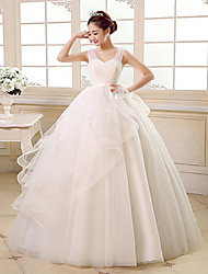Ball Gown Wedding Dress - Ivory Floor-length Straps Tulle