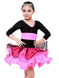 Vestidos(Rosa,Espándex,Danza Latina) -Danza Latina- paraMujer / Niños Frunce Representación / EntrenamientoPrimavera, Otoño, Invierno,