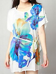 Women's Print Short Sleeve Above Knee Dress (Silk)