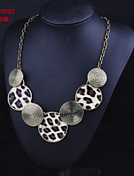European and American fashion pendant round leopard sweater chain necklace female low-key temperament