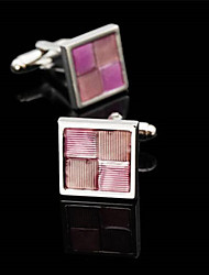 Fashion Copper Men Gift Jewelry Silver Plated Square Pink Enamel Shirt Button Cufflinks(1Pair)