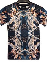 T-Shirts ( Mistura de Algodão ) MEN - Casual/Trabalho Redondo - Manga Curta