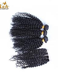 """10 """"26"""" brasilianisches reines Haar verworrene lockige Menschenhaar mit Spitze-Verschluss Farbe Natur schwarz Babyhaar"""