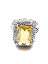 Brass Beautiful Square CZ Fashion Ladies Ring(More Colors)