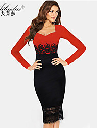 women's collarless Long sleeve lace sllim pencil skirt (Polyester)