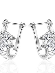 lureme® Fashion Style Silver Plated Flower Camber with Zircon Stud Earrings