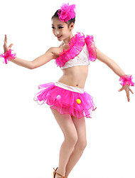Latin Dance Performance Outfits Children's Performance Polyester Sweet Outfit Fuchsia/Blue Kids Dance Costumes