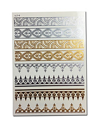 Women's Jewelry Gold Flash Tattoo Sticker Bracelets Metallic Golden Tatoo Temporary Tattoos Waterproof Fake Tatto