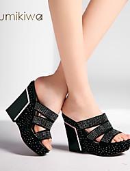 KumiKiwa 2015 new chunky heels women sandals rhinestones wedges pumps woman K14XS987