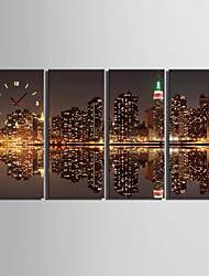 E-HOME® City Image Clock in Canvas 4pcs