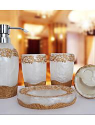 um padrão de pérolas banheiro Ware 5 conjuntos / branco
