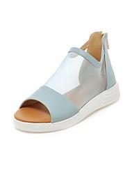 Zapatos de mujer - Tacón Bajo - Punta Abierta / Comfort - Sandalias - Oficina y Trabajo / Vestido - Semicuero - Negro / Azul / Blanco