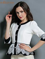 Women's White/Black Jackets , Lace/Work ¾ Sleeve