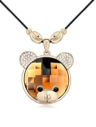 Cute Baby Bear Short Necklace Plated with 18K Champagne Gold Vintage Rose Crystallized Austrian Crystal Stones
