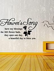stickers muraux autocollants de mur, chanson mots anglais de fleurs&cite muraux PVC autocollants