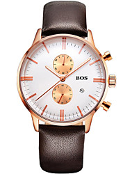 BOS Men's Business Style Dress Watch Stainless Steel and Leather Strap White Dial Watch