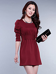 Women's Casual/Party/Work Round Long Sleeve Dresses (Chiffon)