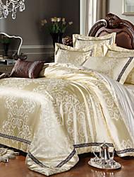 jacquard de lujo rey algodón de seda queen size 4pcs juego de cama edredón almohada textiles coverhome colcha de cubierta de hoja plana