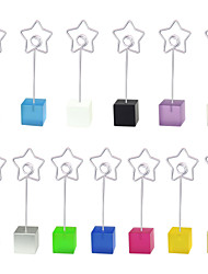 Lot 10pcs Color Cube Stand Star Wire Place Card Holder Photo Memo Clip