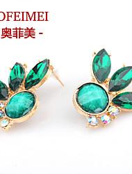 European and American fashion jewelry alloy diamond ear leaf earrings