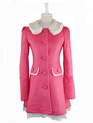 de manga larga de lana capa rosada dulce lolita