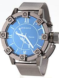 reloj de pulsera de cuarzo de banda de acero negro patrón tauro de los hombres