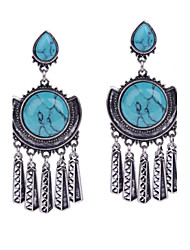 Vintage Fashion Women Blue Resin Earrings Jewelry Silver Alloy Tassel Dangle Earrings Bijoux for Party