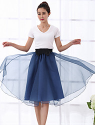 Women's Casual Micro Elastic Medium Knee length Skirts (Mesh)