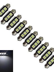 JIAWEN® 10pcs Festoon 36mm 1W 3x5050SMD 60-70LM 6000-6500K Cool White Light LED Car Light (DC 12V)