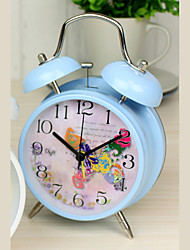 "Fashion Rural Style 4""Dial Twin Bell Mute Alarm Clock Azure Clock Butterfly Collage Dial Bedside Clock Exclusive Design"
