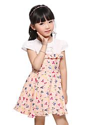Girl's Cotton Blend Dress , Summer Short Sleeve