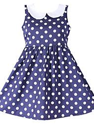 Girl's Dresses Dark Blue Dot Sundress Party Birthday Fashion Baby Children Summer/Spring Dresses (100% Cotton)