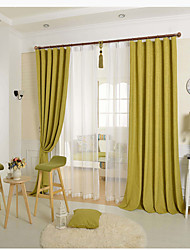 One Panel Green Solid Linen  Cotton Blend Panel Curtain