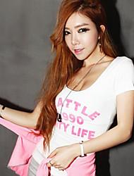 Diepe U-hals - Lycra Vrouwen - T-shirt - Korte mouw