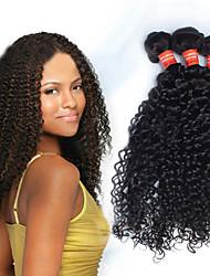 6A Grade Peruvian 3pcs Brazil 100% Human Hair  #1B Kinky Hair Brazilian Virgin Hair