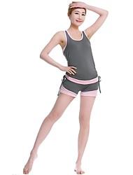 Mujer Yoga Trajes Sin Mangas Secado rápido / Antiestático / Capilaridad / Antibacteriano Gris claro Yoga S / M / L / XL