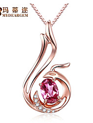 S925 Sterling Silver 18K Rose Gold Plated Red Cubic Zirconia phoenix Pendant Necklace