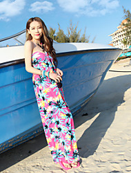 Women's Strapless Coco Printing Chiffon Beach Dress