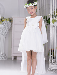 Flower Girl Dress Asymmetrical Satin/Tulle Ball Gown Sleeveless Dress