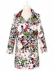 Children Winter Outwear Girls Trench Coat Kids Outerwear & Coats European Designer Style with Fashion Leopard Print
