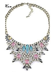 Women's Faceted Color Gem Rhinestone Tirangle Bid Statement Necklace Light Blue Pink