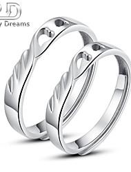 Poetry Dreams Sterling Silver Heart Adjustable Rings  Couple Rings Set