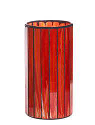 Home Impressions™ 3*6 Inch Red Vertical Stripes Mosaic Glass with Flameless Led Candle with Timer,Battery Operate