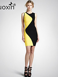 nuoxin® Women's Round Collar Sleeveless Cultivate One's Morality Stretch The Bandage Sexy Dress