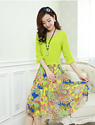 Women's Beach/Casual/Print Round ¾ Sleeve Dresses (Chiffon)