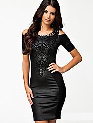 BAOKWomen's Sexy Round Short Sleeve Dresses (Lace)
