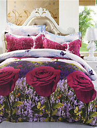 Mingjie Big Red Flowes and Lavender 3D Bedding Sets Queen Size Bed Linen Duvert Cover Sets China
