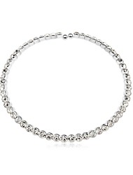 collar corto belleza perfecta plateado con 18k verdadera cristal platino claro cristalizadas piedras de cristal austríaco