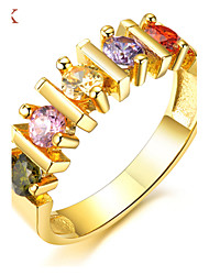 OPK® AAA Zirconium Drill More 18 K Gold Plating Color Diamond Ring