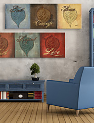 E-Home® Leinwand Kunst Blatt dekorative Malerei Satz 2